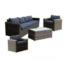 ARIZONA Set-4s Grey/Brown Wicker (Cushions Anthracite) 1pcs