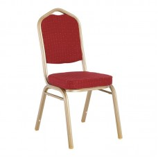 HILTON Banquet chair/Light Gold Metal Frame/Red Fabric 1pcs