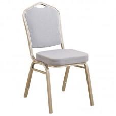 HILTON Banquet chair/Light Gold Metal Frame/Grey Fabric 1pcs