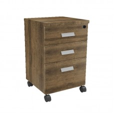 ALPINE Mobile Pedestal 3-Drawers 40x40x65cm Brown Oak 1pcs