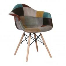 ALEA Wood Armchair PP, Patchwork Fabric Misty Brown 4pcs