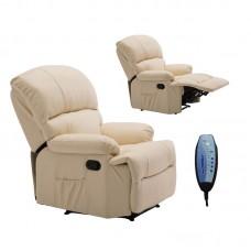 SPACE Massage Armchair Beige Pu 1pcs