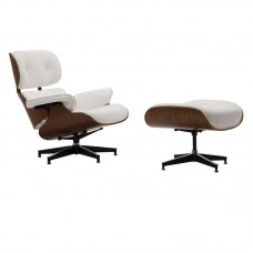 RELAX Armchair With Footrest Stool White Pu 1pcs