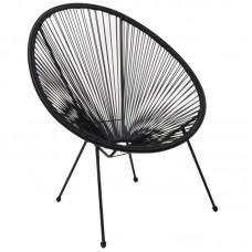 ACAPULCO Armchair Black Steel, Black Plastic Rattan 1pcs