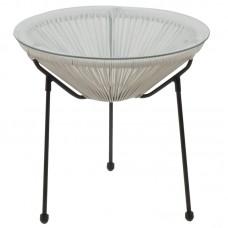ACAPULCO Side Table D.50 Black Steel, White Plastic Rattan 1pcs