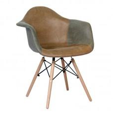 ALEA Wood Armchair PP, Fabric Grey/Brown 4pcs