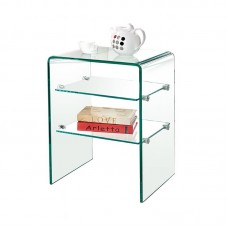 GLASSER Clear End Table with Shelves 50x40x58cm Clear 10/6mm Glass 1pcs