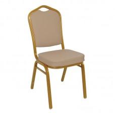 HILTON Banquet Chair/Gold Metal Frame/Cappuccino Pu 1pcs