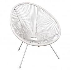 ACAPULCO Armchair White Steel, White Plastic Rattan 1pcs