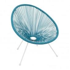 ACAPULCO Armchair White Steel, Blue Plastic Rattan 1pcs
