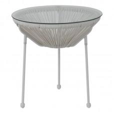 ACAPULCO Side Table D.50 White Steel, White Plastic Rattan 1pcs