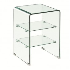 GLASSER Clear End Table with Shelves 40x40x60cm Clear 10/5mm Glass 1pcs