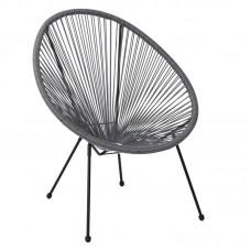 ACAPULCO Armchair Black Steel, Grey Plastic Rattan 1pcs