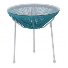 ACAPULCO Side Table D.50 White Steel, Blue Plastic Rattan 1pcs