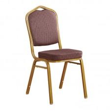 HILTON Banquet chair/Gold Metal Frame/Brown Fabric 1pcs