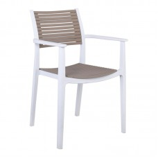 AKRON Armchair PP-UV White/Sand Beige 1pcs