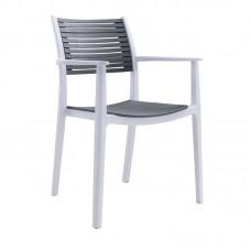 AKRON Armchair PP-UV White/Grey 1pcs