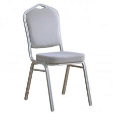 HILTON Banquet chair/Silver Metal Frame/Grey Fabric 1pcs