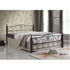 ADEL Bed 160x200 Metal Black/Wood Walnut 1pcs