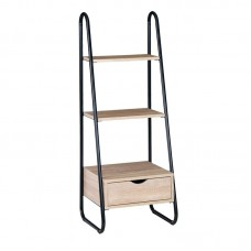 BOOKCASE With Drawer 44x37x114 Metal Black/Natural 1pcs