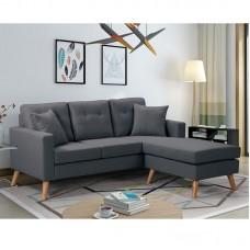 ALAN Reversible Corner Sofa Fabric Dark Grey 1pcs