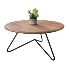 BORAL Coffee Table d.83x40 Acacia Natural Finish (Black Paint) 1pcs