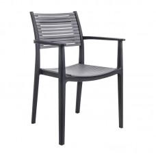 AKRON Armchair PP-UV Black/Grey 1pcs