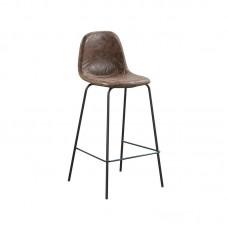 CELINA Bar Stool Black Metal, Brown Suede Fabric (seat height 67cm) 4pcs