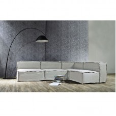 BARROS Reversible Corner Sofa Fabric Grey 1pcs