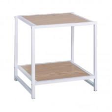 ATOS Side Table White Metal/Natural Mdf 1pcs