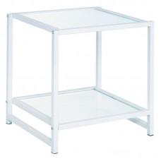 ATOS Side Table White Metal/Glass 5mm 1pcs
