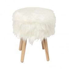 JAMO Storage Stool Natural/Faux Fur Fabric White 1pcs