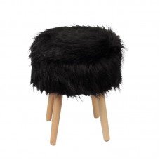 JAMO Storage Stool Natural/Faux Fur Fabric Black 1pcs