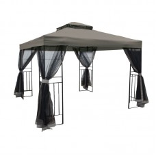 GAZEBO w/Black Mosquito net 3x3m Steel Anthracite/Fabric L.Grey 1pcs