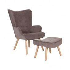 ALMA Set Armchair & Stool, Brown Velure (K/D) 1pcs