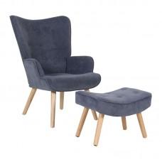 ALMA Set Armchair & Stool, Light Blue Velure (K/D) 1pcs