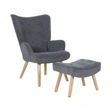 ALMA Set Armchair & Stool, Grey Velure (K/D) 1pcs