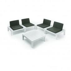 API Multifunctional Garden Set 4-S White/Cushions Anthracite 1pcs
