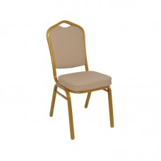 HILTON *Imperfect* Banquet Chair Gold Metal Frame/Cappuccino Pu 1pcs