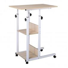 LIFT Side Table 60x40x68/85cm Steel White/Maple 1pcs