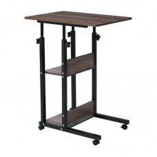 LIFT Side Table 60x40x68/85cm Steel Black/Dark Walnut 1pcs
