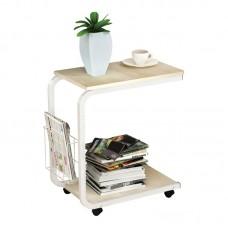 LAP Side Table 51x30x56cm Steel White/Maple 1pcs