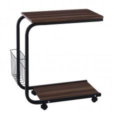 LAP Side Table 51x30x56cm Steel Black/Dark Walnut 1pcs