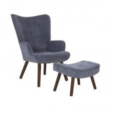 ALMA Set Armchair & Stool Walnut/Light Blue Velure (K/D) 1pcs
