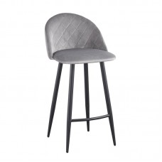 BELLA Bar Stool Steel Black/Fabric Velure Grey 4pcs