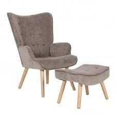 ALMA Set Armchair & Stool, Velure Light Brown (K/D) 1pcs