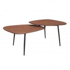 BERLIN Coffee Table 126x64cm Steel Black/Walnut 1pcs