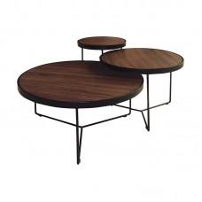 BOB Set-3 Coffee Tables Steel Black/Walnut 1pcs