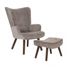 ALMA Set Armchair & Stool Walnut/Velure Light Brown (K/D) 1pcs