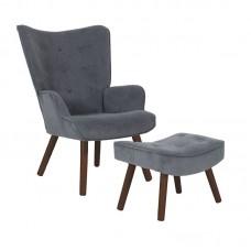 ALMA Set Armchair & Stool Walnut/Grey Velure (K/D) 1pcs